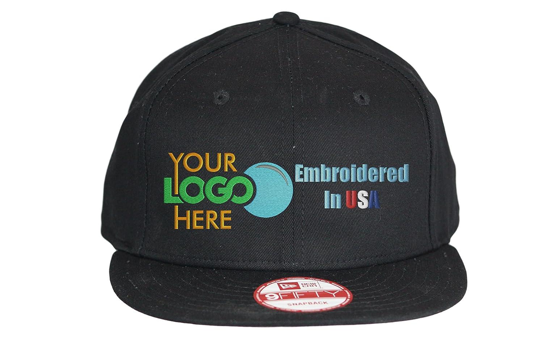 be4415ec265 Custom Logo New Era Snapback Hat. 9Fifty. Embroidered. Your Logo. Flatbill  Bill. (Black) at Amazon Men s Clothing store