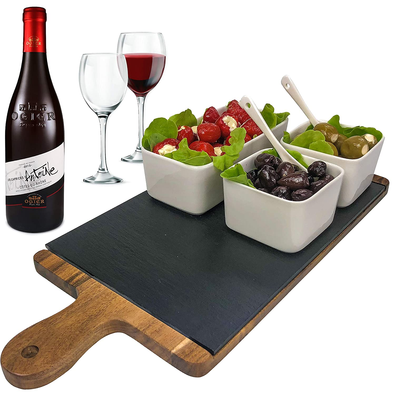 Wood Cheese Board, Slate, Dipping Bowls, and Spoon Set