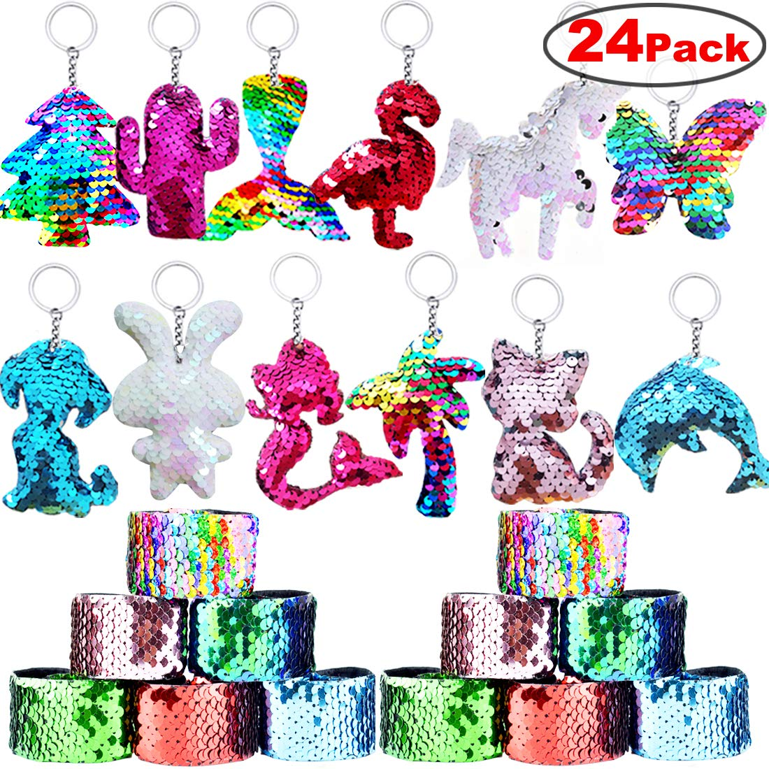 Mermaid Tail Keychains Animal Keychains for Kids Birthday Party Favors Supplies Goodie Bag Fillers Carnival Prize 24 Pack Danirora Sequin Keychains,