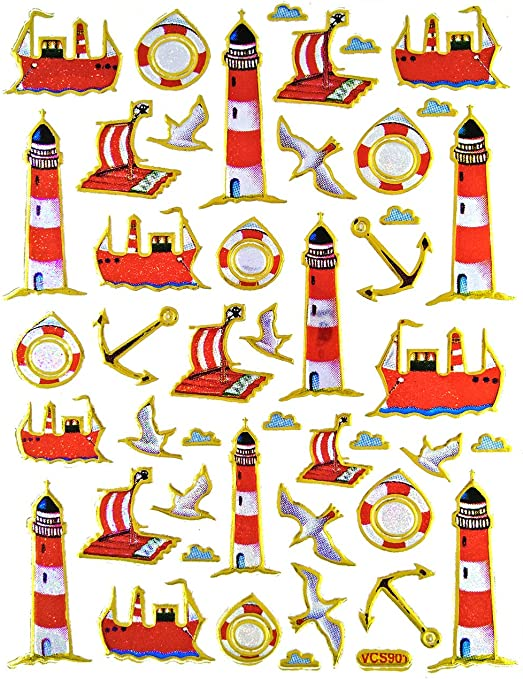 Lighthouse Stickers Self-Adhesive Glitter Metallic Foil Reflective Sticker Decorative Scrapbook for Kid 12 Sheets per Pack Birthday Party Photo Diary Card Album