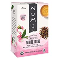 Numi Organic Tea White Rose, 16 Count Box of Tea Bags, White Tea (Packaging May...