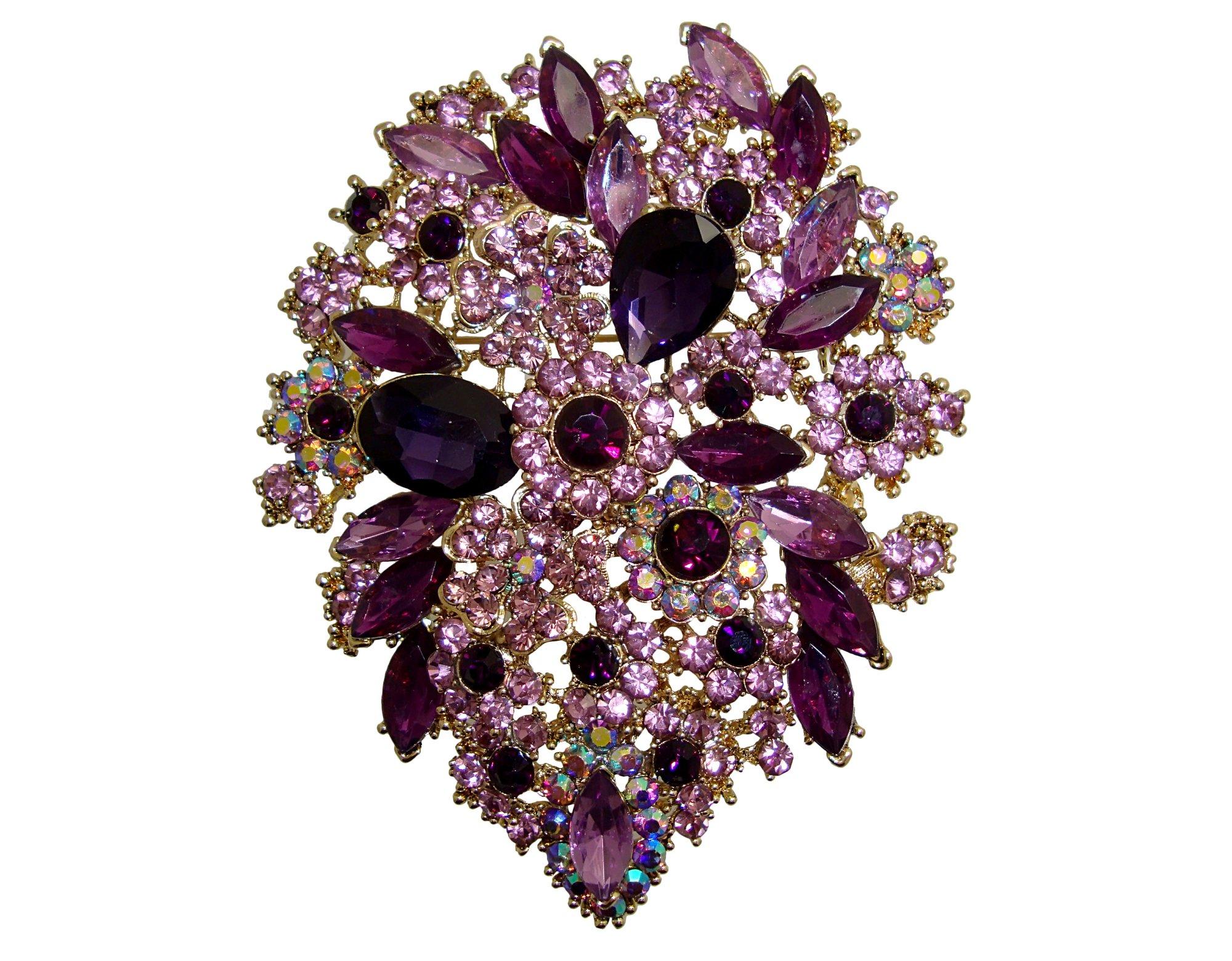TTjewelry Classic Style Crystal Rhinestone Droplets Flower Art Nouveau Brooch Pins Pendants B10390500 (Amethyst)