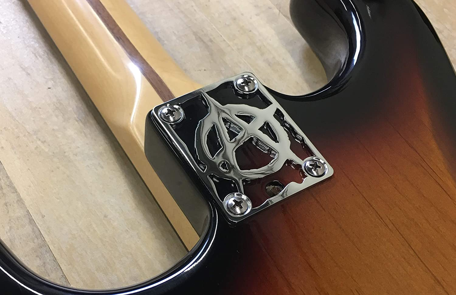 CHROME ANARCHY NECK PLATE FOR YOUR CUSTOM GUITAR OR BASS