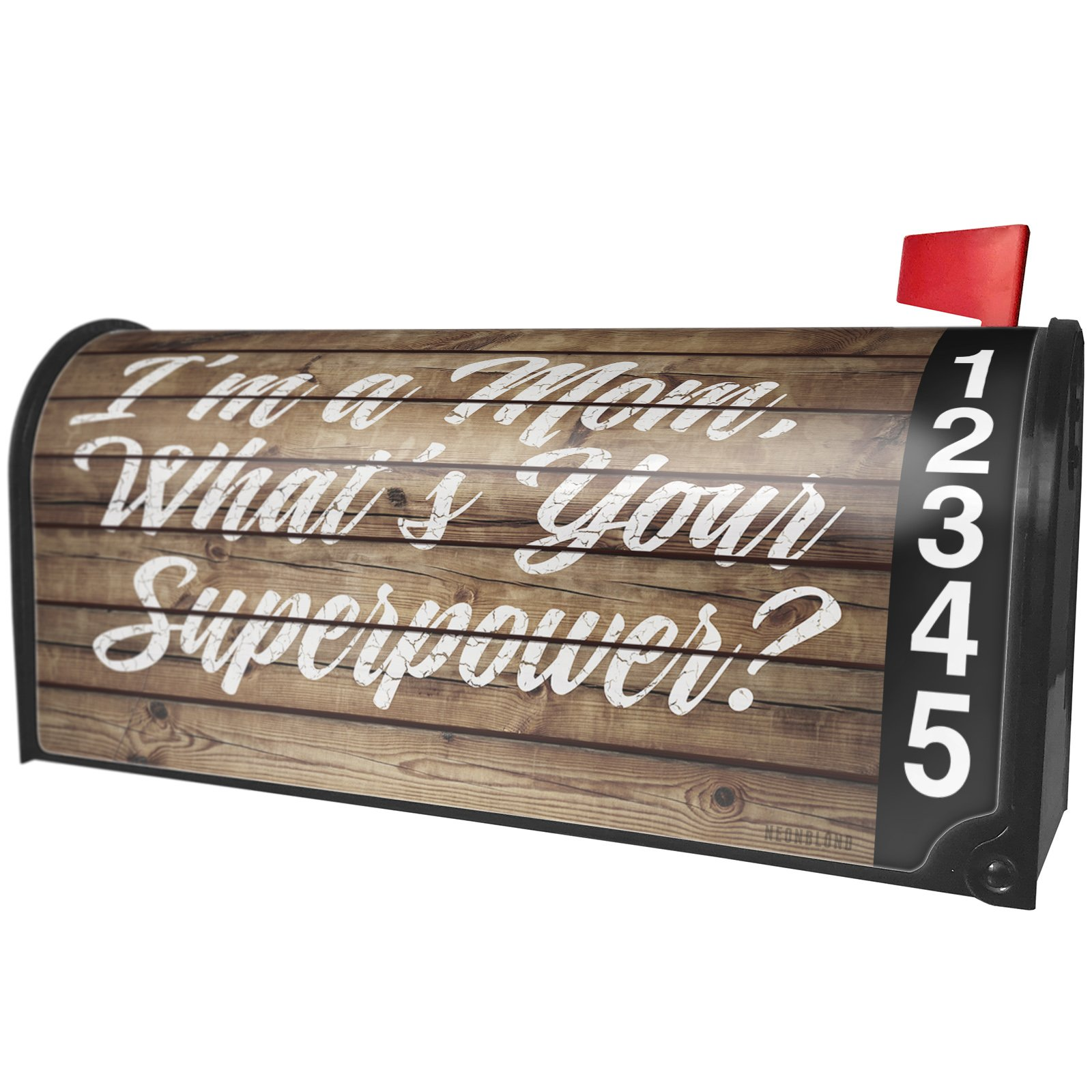 NEONBLOND Painted Wood I'm a Mom, What's Your Superpower? Magnetic Mailbox Cover Custom Numbers