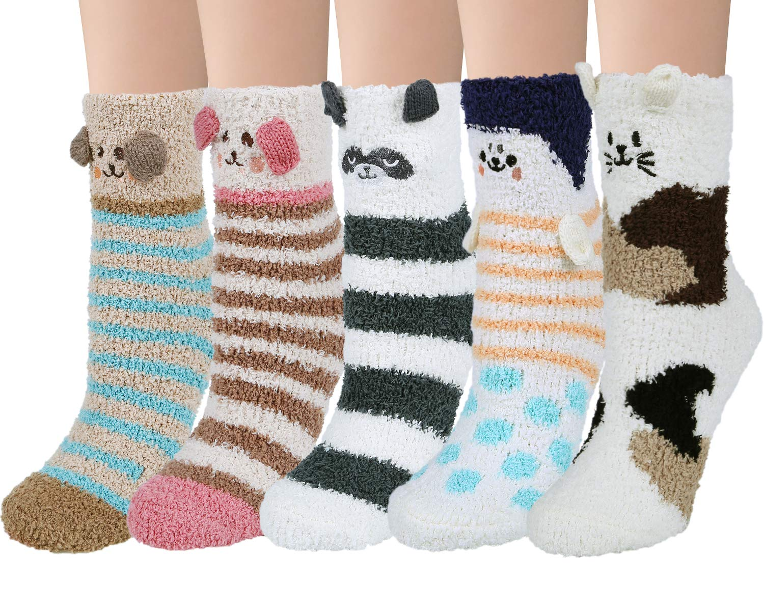 5 Pairs Womens Fuzzy Socks Winter Warm Cozy Soft Fluffy Cute Animal Slipper Socks, Mix Color 11(5 pairs) by Loritta