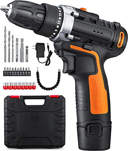 YIMALER 12V Cordless Drill Driver Kit Handheld Drill 1.5Ah Li-Ion 26 Accessories 3 8 Chuck Max Torque 265 In-Lb 2 Speed Fast Charger LED light for Household Jobs Battery Included