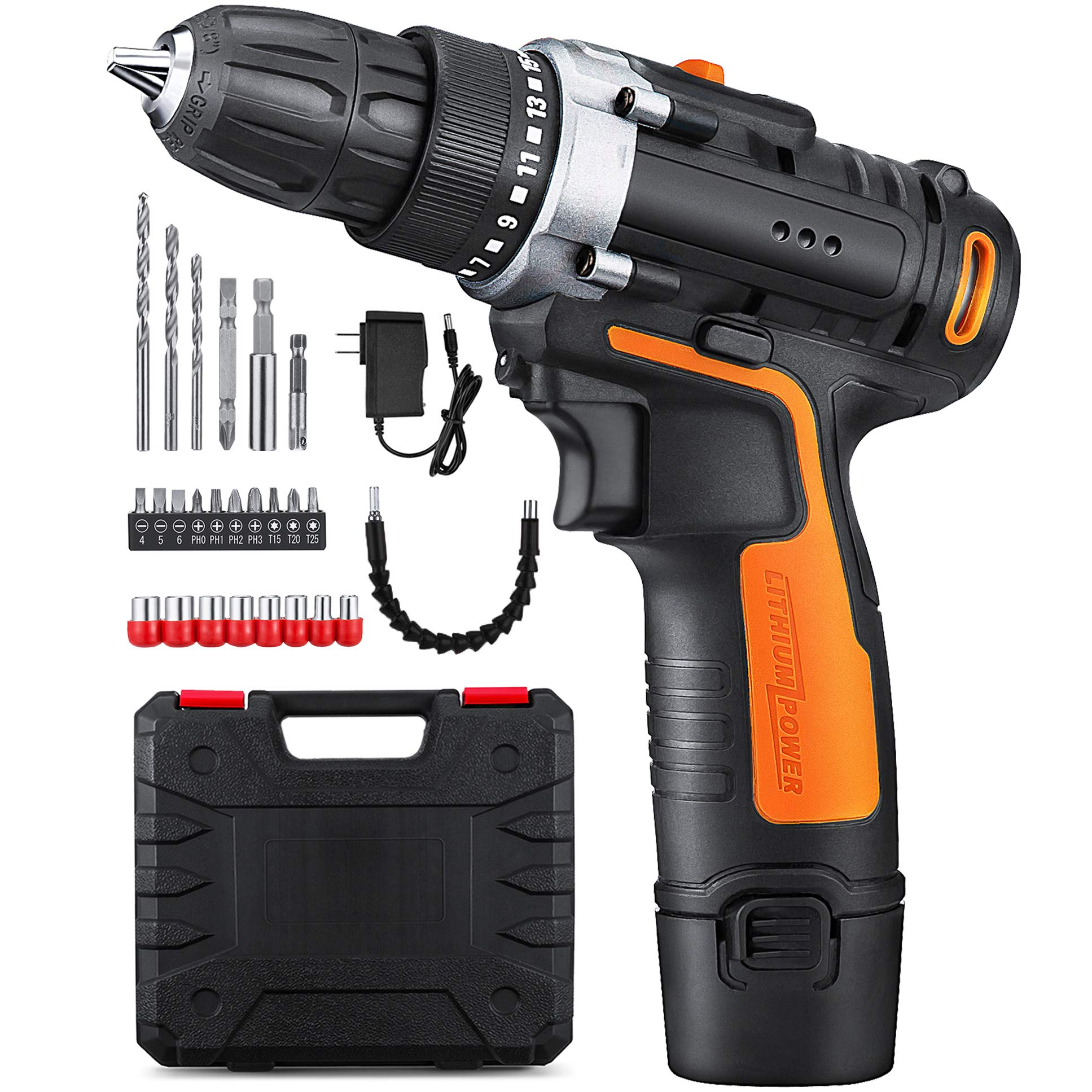 YIMALER 12V Cordless Drill Driver Kit Handheld Drill 1.5Ah Li-Ion 26 Accessories 3/8'' Chuck Max Torque 265 In-Lb 2 Speed Fast Charger LED light for Household Jobs Battery Included