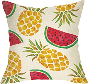 "Ussap Watercolor Pineapple Watermelon Summer Decoration Rustic Farmhouse Decorative Throw Pillow Cover Cushion Case for Sofa Couch Tropical Sign Home Decor Cotton Linen 18"" x 18"" in"