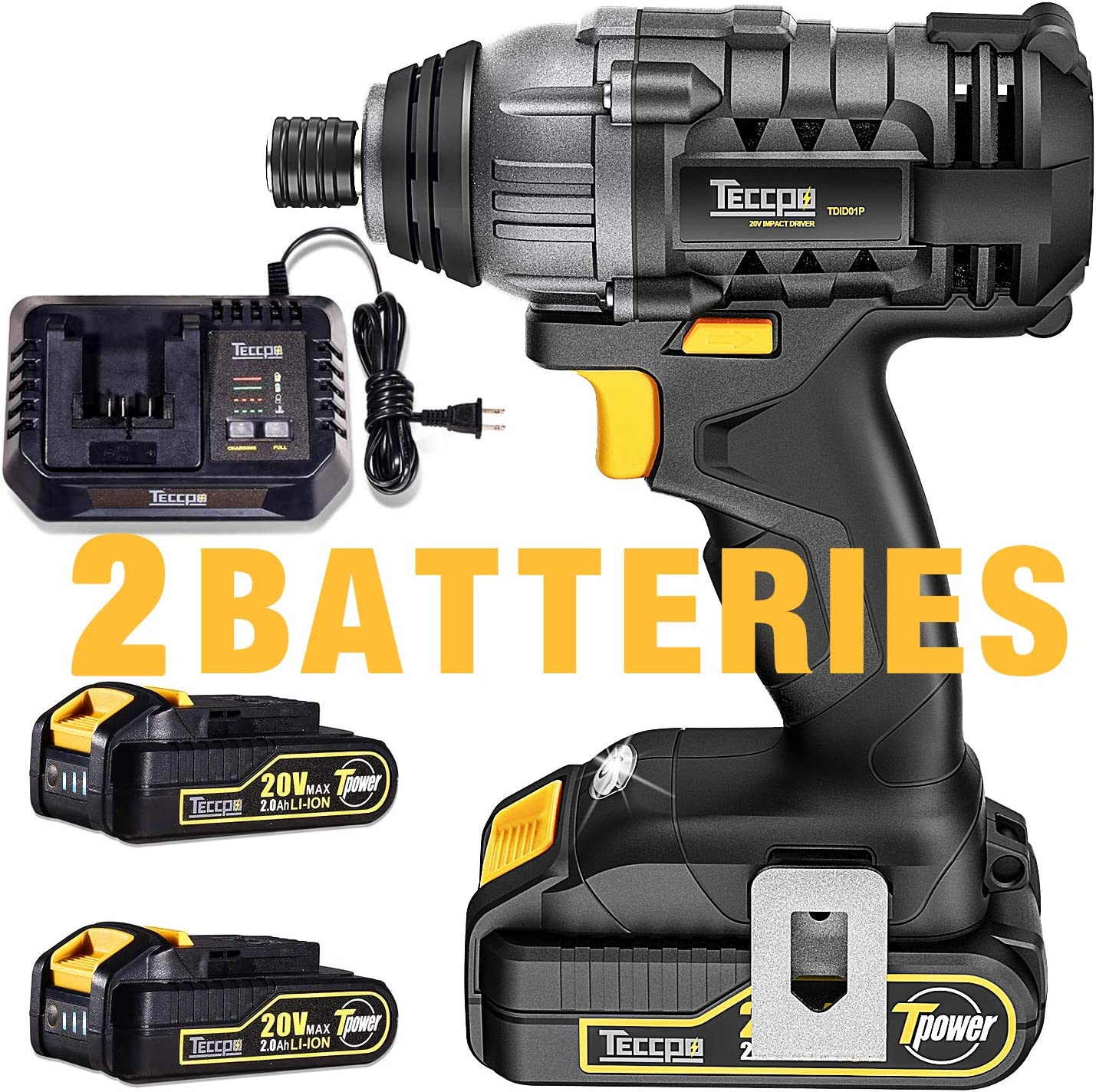 "Impact Driver, TECCPO 1600In-lbs 20V MAX Impact Drill, 2X2.0Ah Batteries, 1/4"" All-metal Hex Chuck, 30 Minutes Fast Charger, 0-2900RPM Variable Speed, Tool Bag Included - TDID01P"