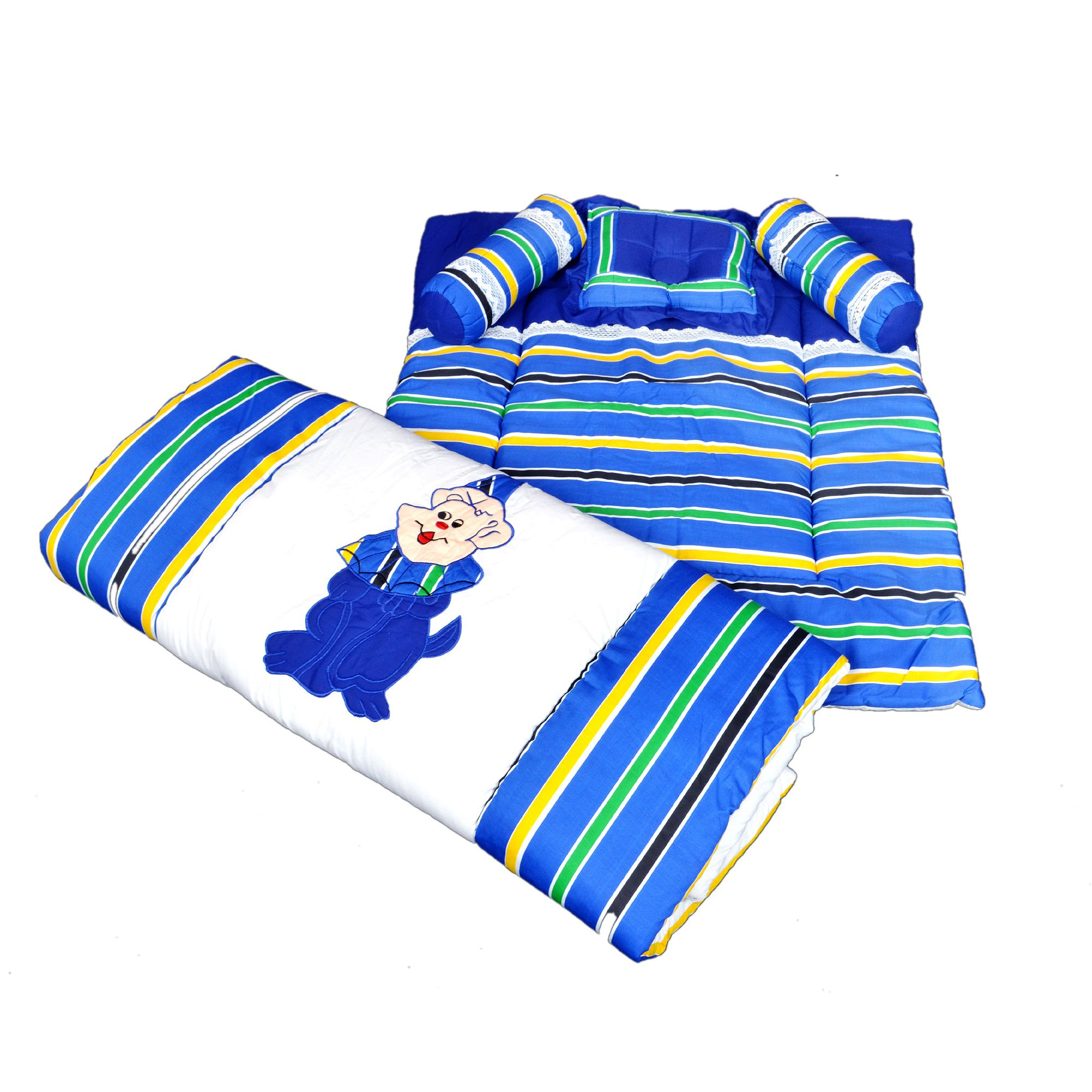 Maple Krafts Pure Cotton Baby Bedding set upto 24 months Royal Blue with Pillow