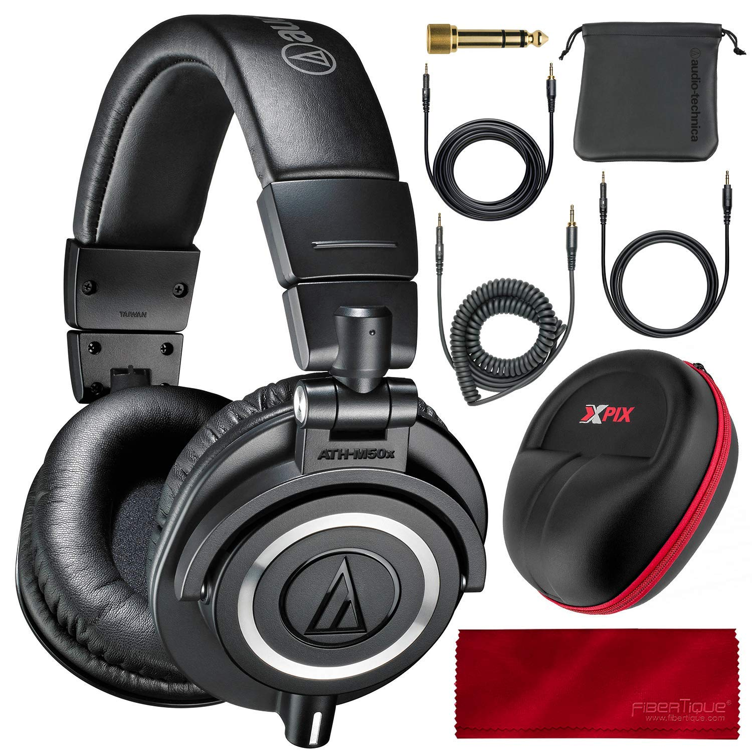 Audio Technica ATH-M50X Monitor Headphones (Black) Professional Kit, with Carrying Case, Fibertique Cleaning Cloth and 3 Cables - For DJs, Studio Recording and Listening