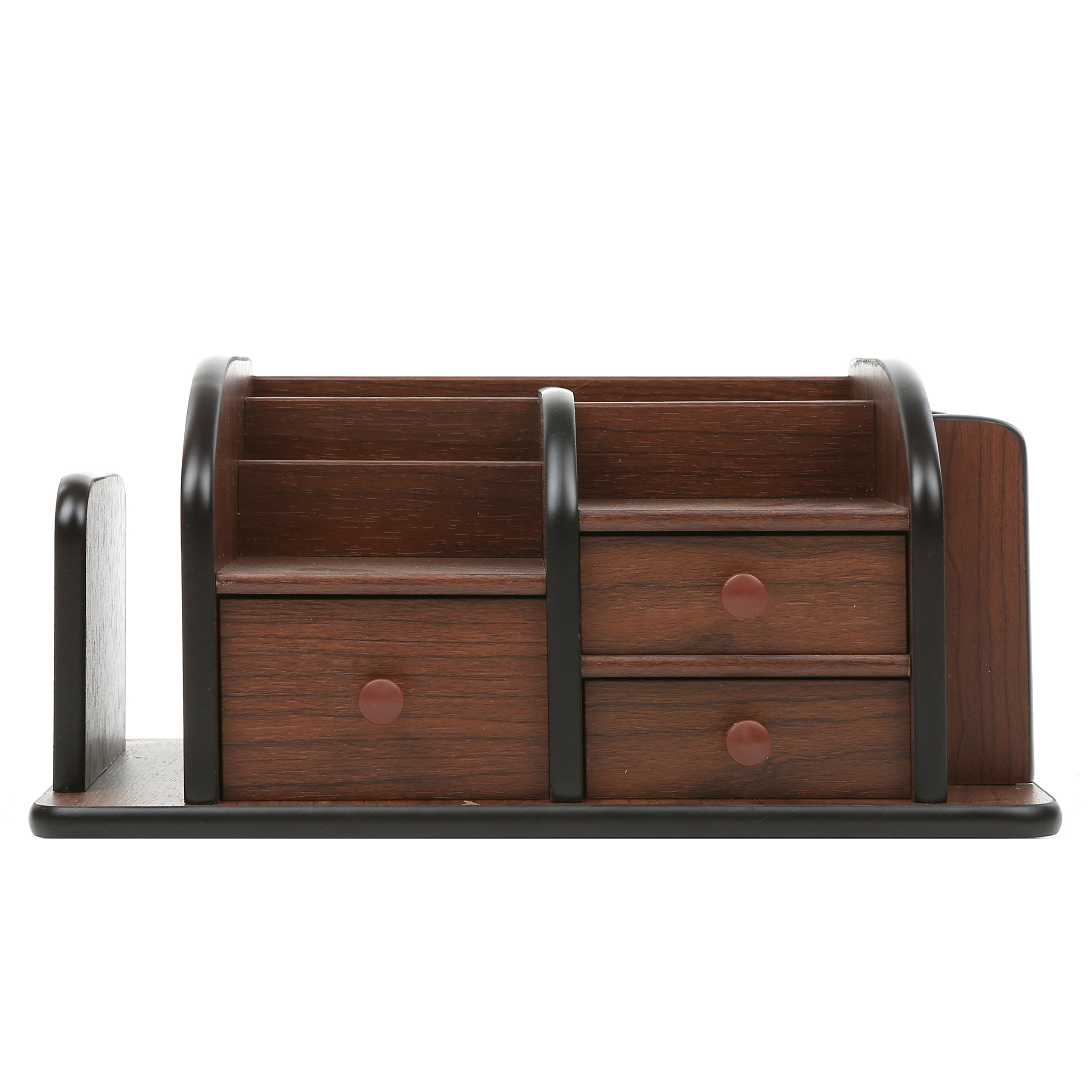 MyGift Wood Office Supplies Organizer With 3 Drawers