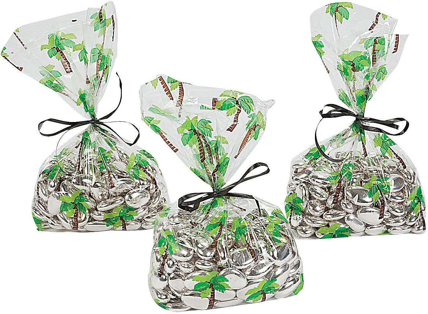 """250 Quality GREEN Cone Cellophane Sweet Party Bags With 4/"""" Silver Twist Ties"""
