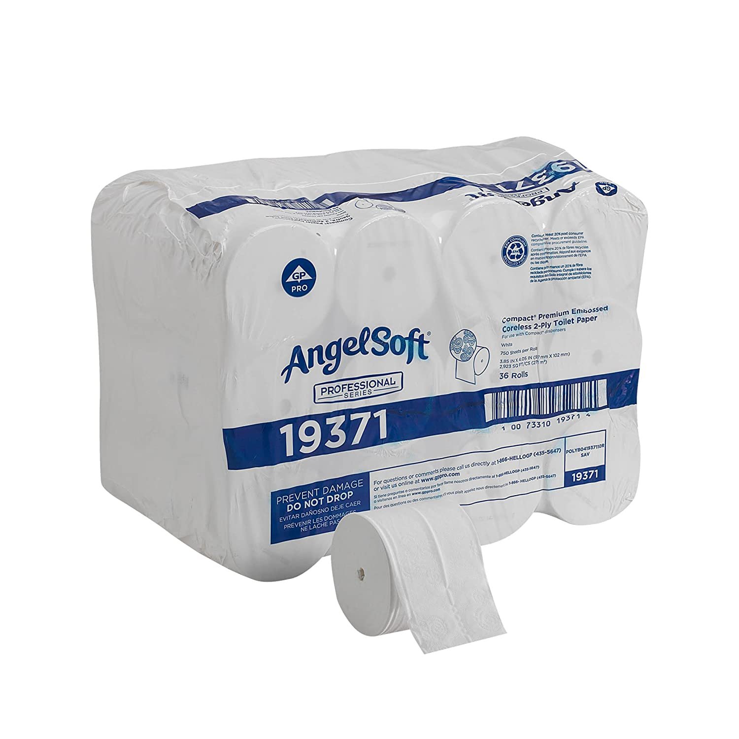 Angel Soft ps 193-71 Compact 4.05' Length, 3.85' Width, 4.75' Roll Diameter Coreless 2-Ply Premium Bathroom Tissue (Roll of 36) 3.85 Width 4.75 Roll Diameter Coreless 2-Ply Premium Bathroom Tissue (Roll of 36) Georgia Pacific 19371