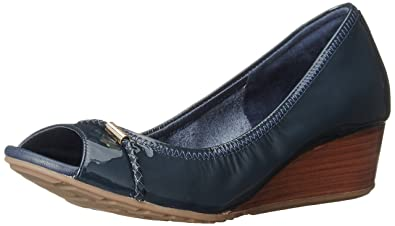 Cole Haan Women's Tali OT Det 40 Wedge Pump,Blazer Blue Patent,8 B