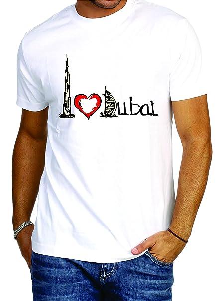 edde203b Printcolor Printed Polycotton Material Men's Round Neck White T-Shirt  Design I Love Dubai S