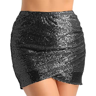 8fd81eb4a MSemis Womens Sequin Mini Skirt Tulip Hem Wrap Ruched Bodycon Pencil Skirt  for Cocktail Dance Party