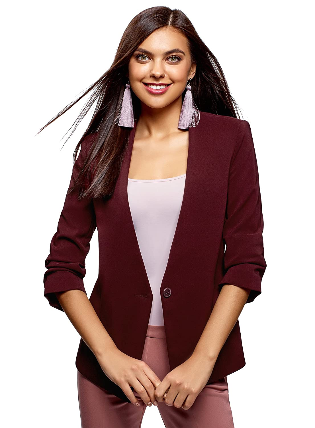 oodji Ultra Womens Slim-Fit Blazer with 3/4 Sleeves RIFICZECH s.r.o. 11204014B