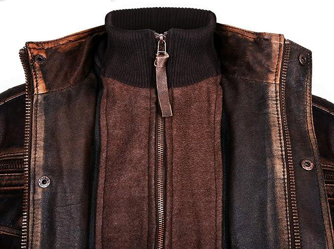 Infinity Leather Marrone Caldo Brando Giubbotto da Motociclista in Pelle da Uomo