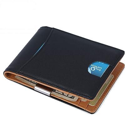 RFID Portefeuilles pour Hommes, Hommes Portefeuilles en Cuir RFID Bloqué  Mince Porte Monnaie avec Clip 5b04c309781