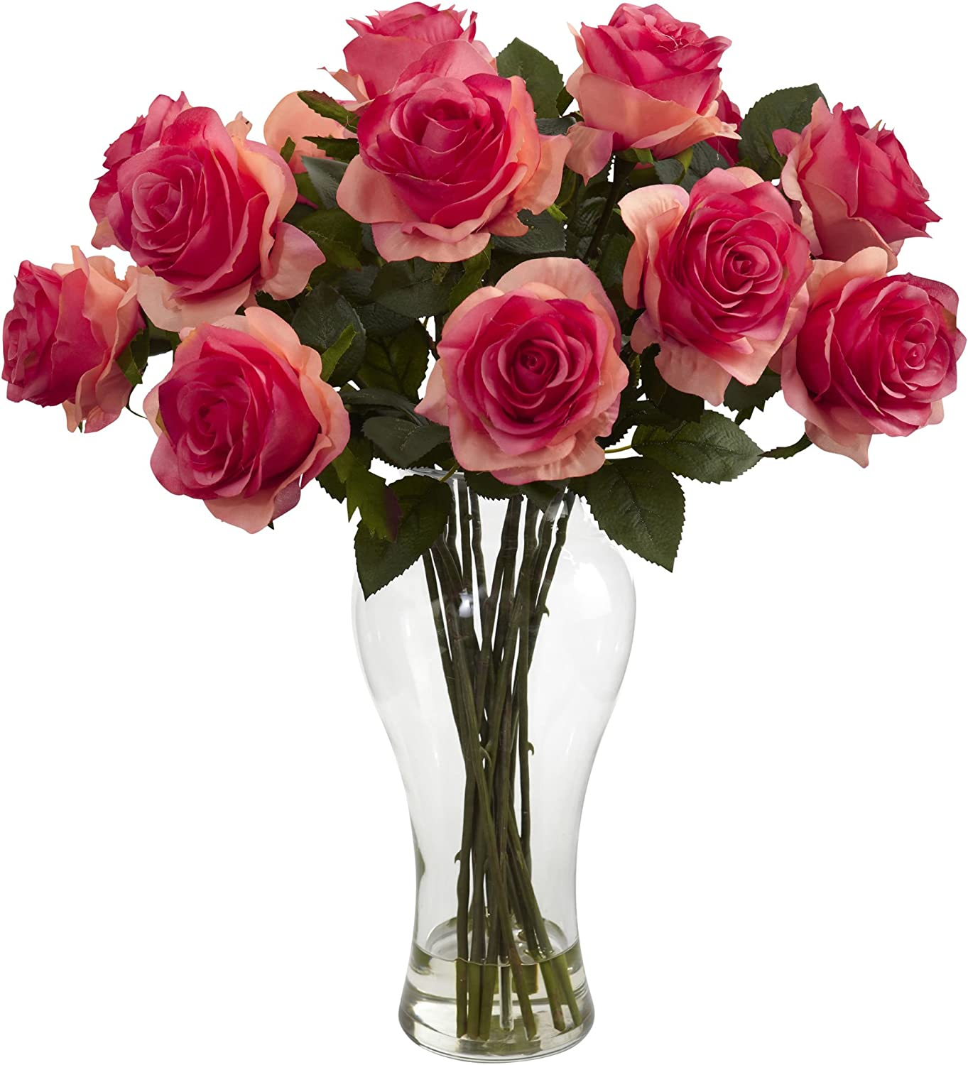 Dark Pink Nearly Natural 1328-DP Blooming Roses with Vase