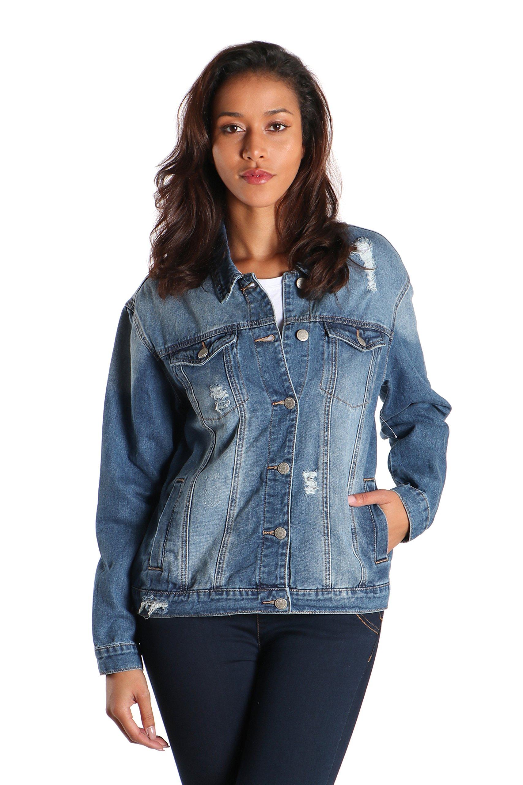 SWTD Womens Classic Style Vintage Destroyed Accent Button Down Denim Trucker Jackets (Large, Medium DENIM-90091)