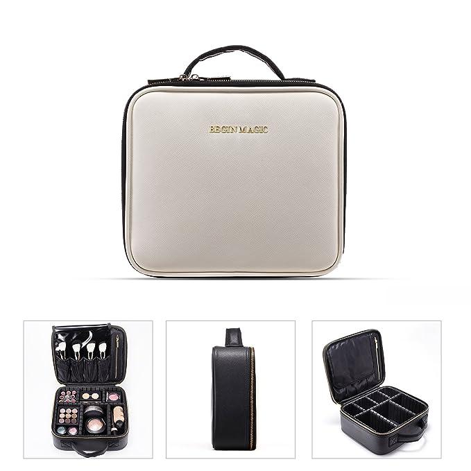 "Begin Magic Makeup Cosmetic Train Case / Make Up Artist Organizer Bag / Portable Eva Professional Make Up Case 10.2"" Small (Black / White) by Amazon"