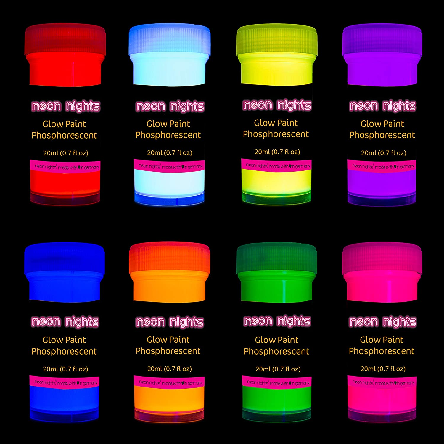 Amazon Com Premium Glow In The Dark Acrylic Paint Set By Neon Nights Set Of 8 Professional Grade Neon Craft Paints Long Lasting Self Luminous Paint Handcrafted In Germany 8 X 20