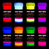 Premium Glow in the Dark Acrylic Paint Set by neon nights – Set of 8 Professional Grade Neon Craft Paints – Long-Lasting…