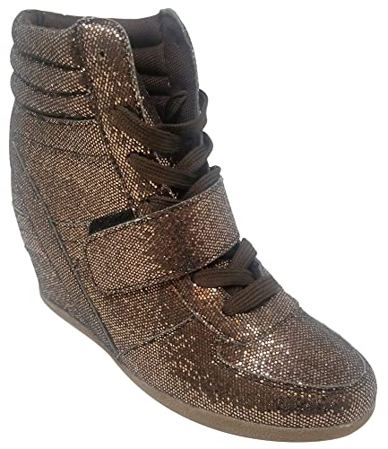 5c0875747eb Best Bronze Metallic High Top Casual Sneakers for Women Glitter Lace Up  Warm Sketcher Modern Stylish