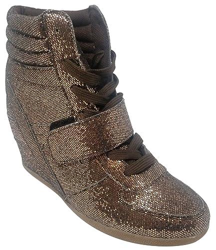 37e562cdc0d Best Bronze Metallic High Top Casual Sneakers for Women Glitter Lace Up  Warm Sketcher Modern Stylish