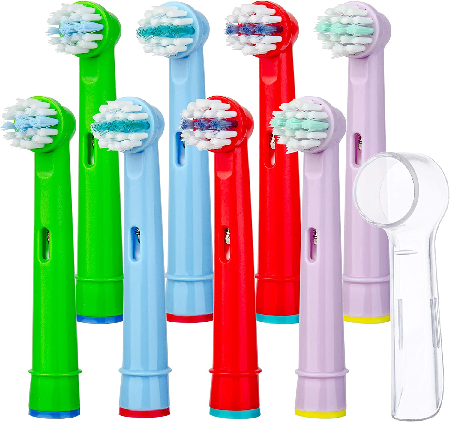 NISTAL Toothbrush Heads for Children 8pcs Oral b Compatible Kids Brush Head Replacement with Cover