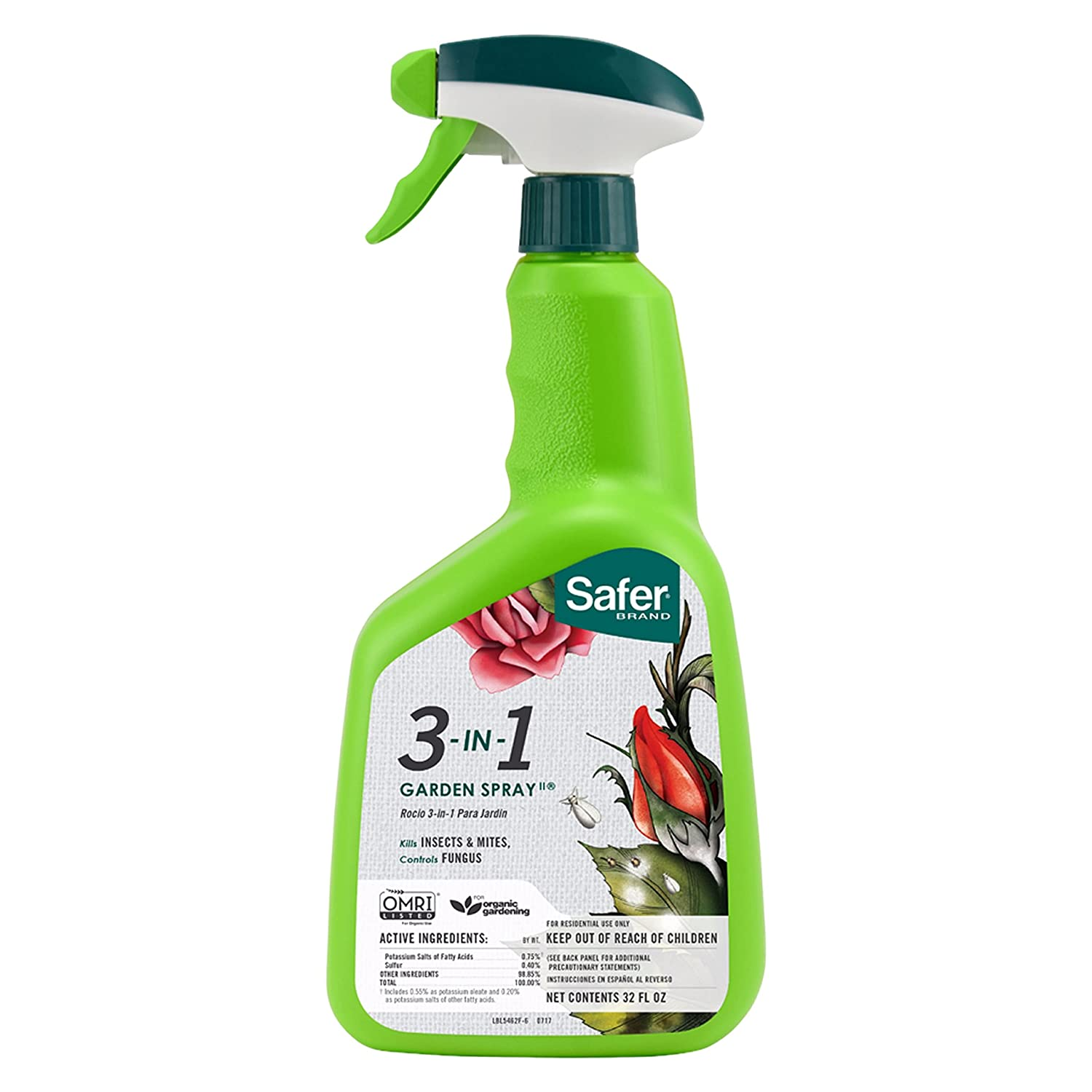 Safer Brand 5452 3-in-1 32-Ounce Ready-to-Use Garden Spray