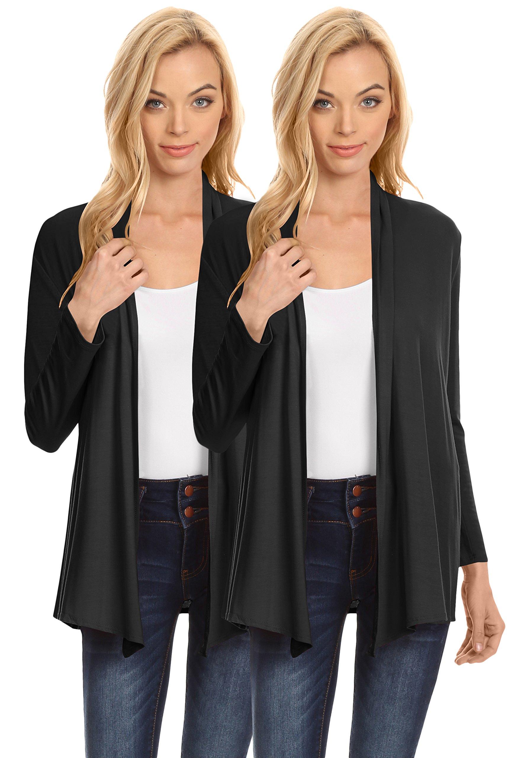 Womens Open Drape Cardigan Reg and Plus Size Cardigan Sweater Long Sleeves - USA (Size Medium, 2 Pk Black/Black)