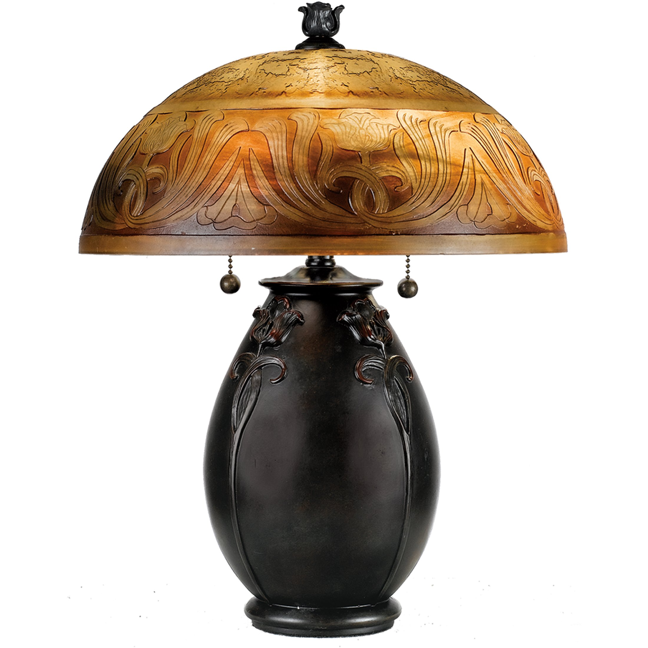 Quoizel QJ6781TR Glenhaven Etched Amber Glass Table Lamp, 2-Light, 120 Watts, Teco Rossa (18'' H x 14'' W)