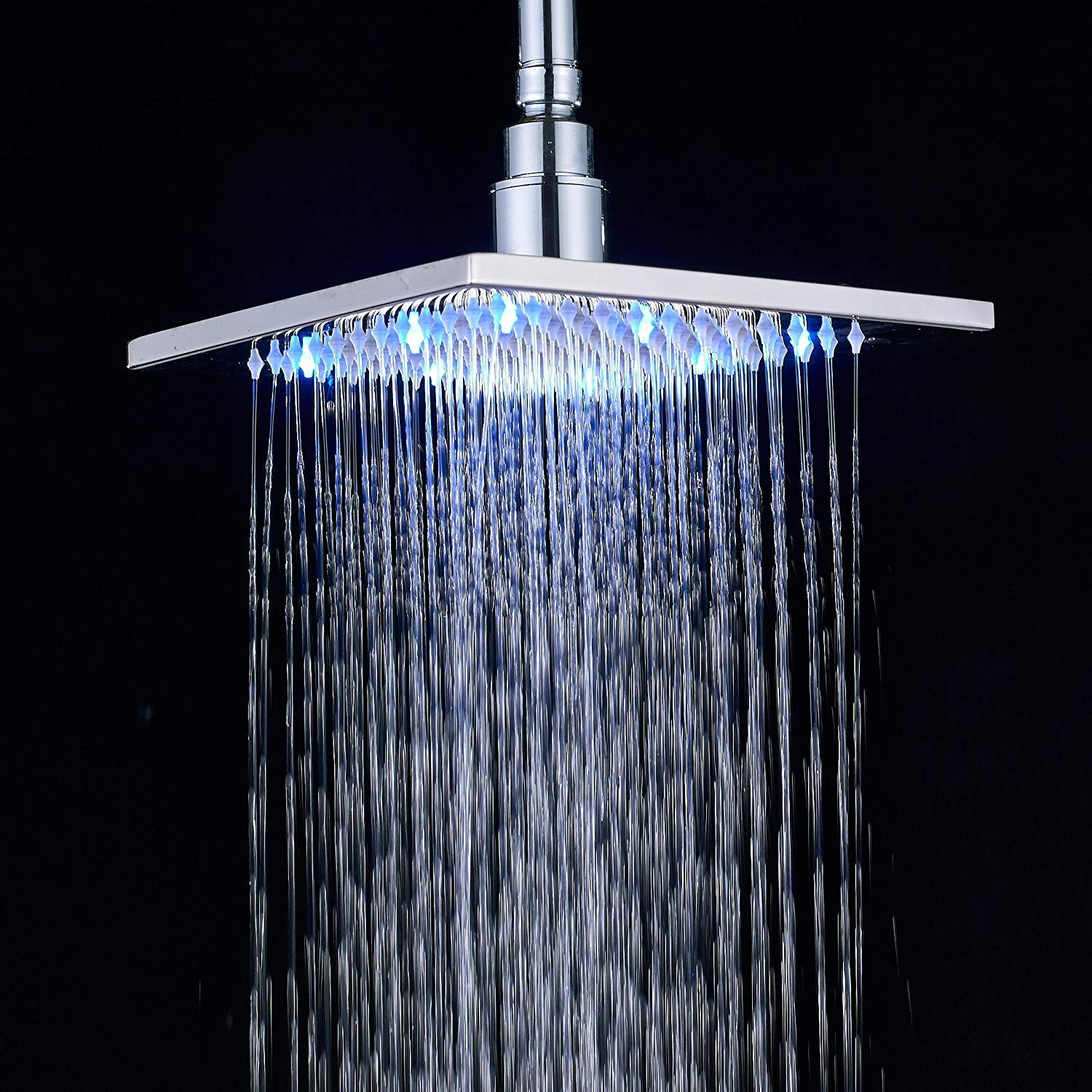 Votamuta Polished Chrome Finish 16-Inch LED Square Rain Shower Head Wall Mounted,Ceiling Mounted Top Shower Sprayer