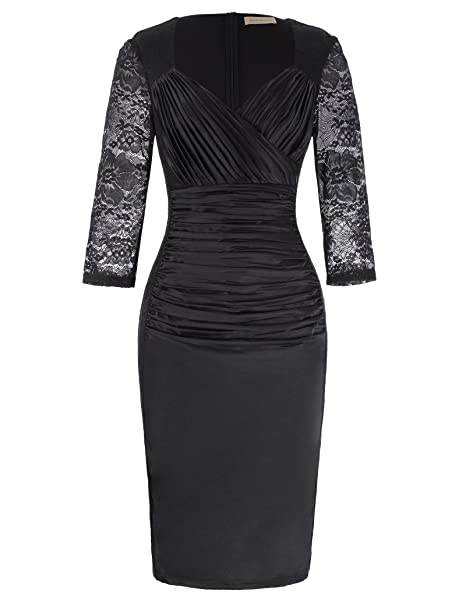e7b02594e8 Kate Kasin Womens Formal Evening Party Bodycon Midi Dresses KK871   Amazon.co.uk  Clothing