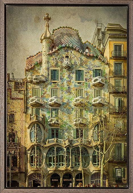 TEXFOTO Cuadro Enmarcado - Casa Batlló de Antonio Gaudí en Barcelona - Fotografía artística y Moderna Listo para Colgar - Hecho a Mano en España (20_x_30_cm): Amazon.es: Hogar