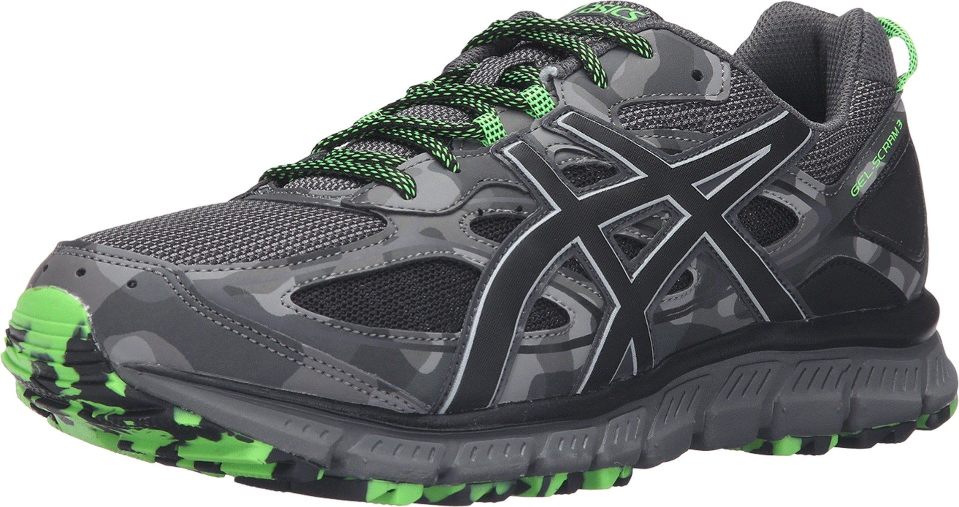 ASICS Men's Gel-Scram 3 Trail Runner, Carbon/Black/Green Gecko, 10 M US