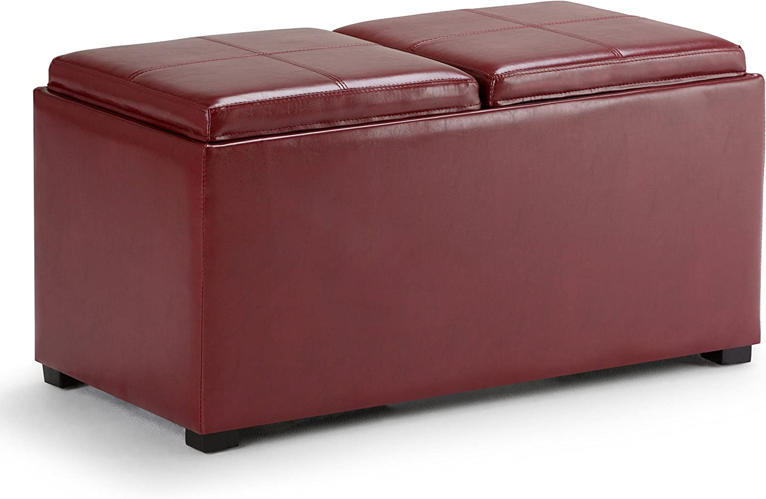 Simpli Home AY-F-15B-RRD Avalon 35 inch Wide ContemporaryStorage Ottoman in Radicchio Red Faux Leather