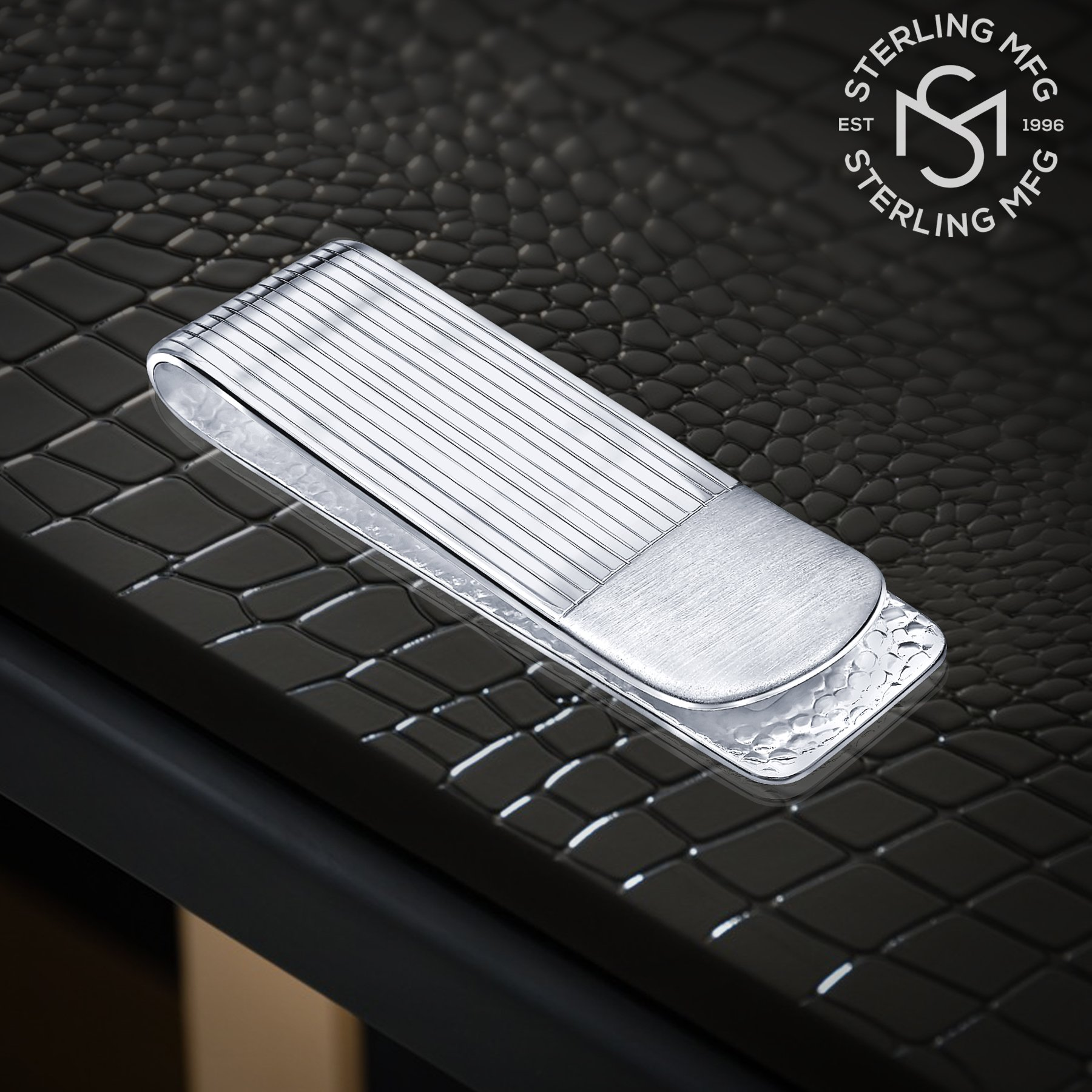 Sterling Silver .925 Money Clip Striped Design with Satin Finish Accent, Pebbled Underside. Designed and Made In Italy. By Sterling Manufacturers by Sterling Manufacturers (Image #2)