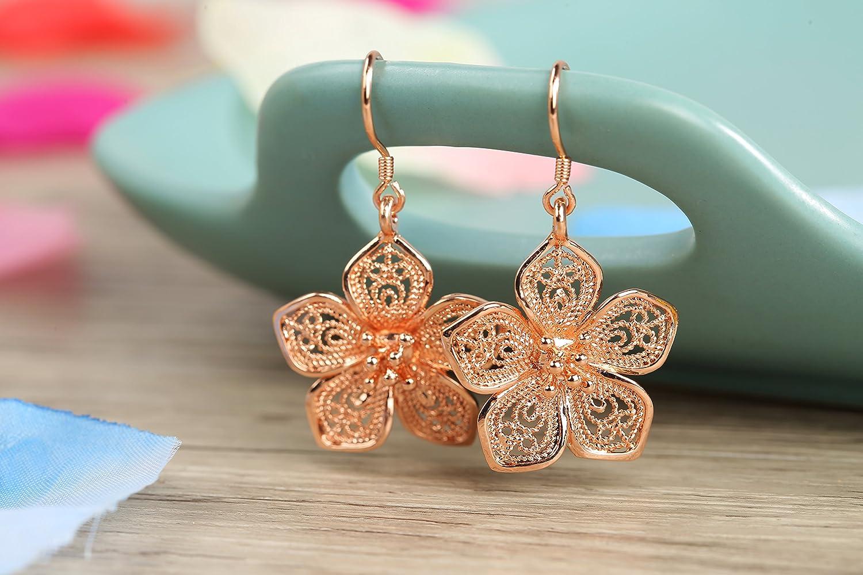 Rose Gold Flower Dangling Earrings-EGG139