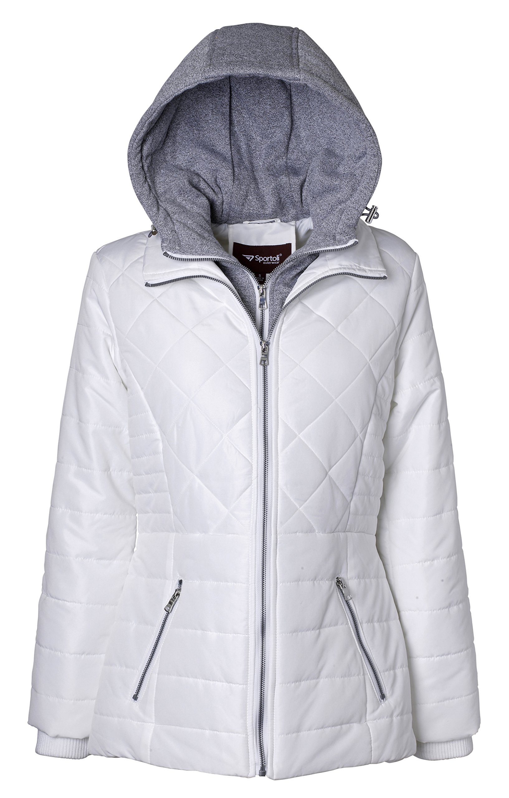 Sportoli Women's Down Alternative Quilted Midlength Vestee Puffer Jacket with Fleece Hood - Snow White (2X)