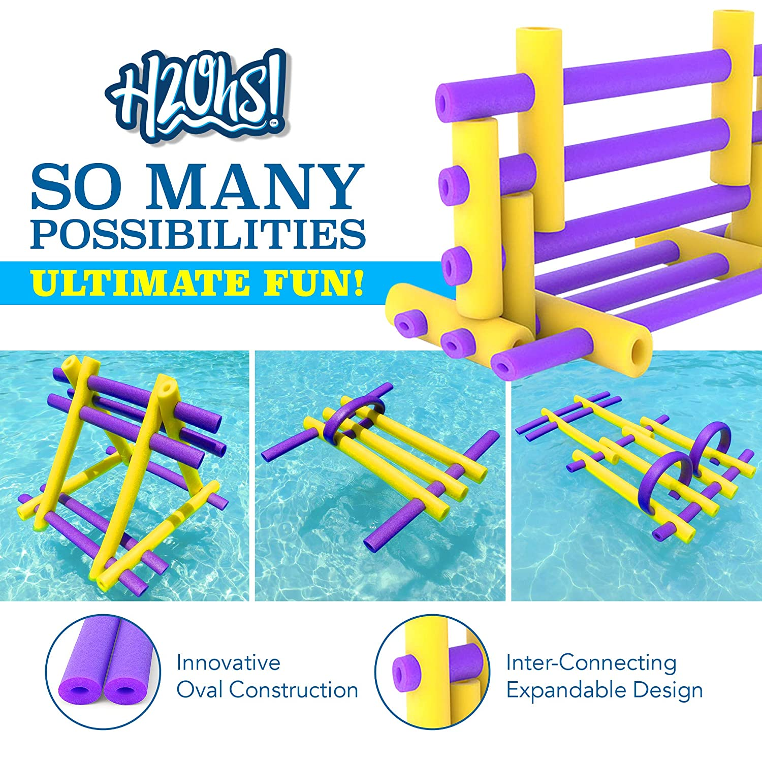 Build and Connect 8 Pack Swimming Toy Kit Mini-H2Ohs Foam Pool Noodles H2Ohs Create Your Own Floating Raft or Watercraft Instructions Included Connex Water Float Kit