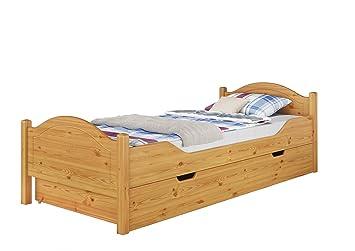 Erst Holz Massivholz Bett Kiefer Natur 100x200 Einzelbett Rollrost