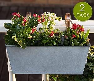 HORTICAN Hanging Planter Flower Pot Metal Container Wall Pocket Garden Bucket for Indoor or Outdoor Balcony Patio