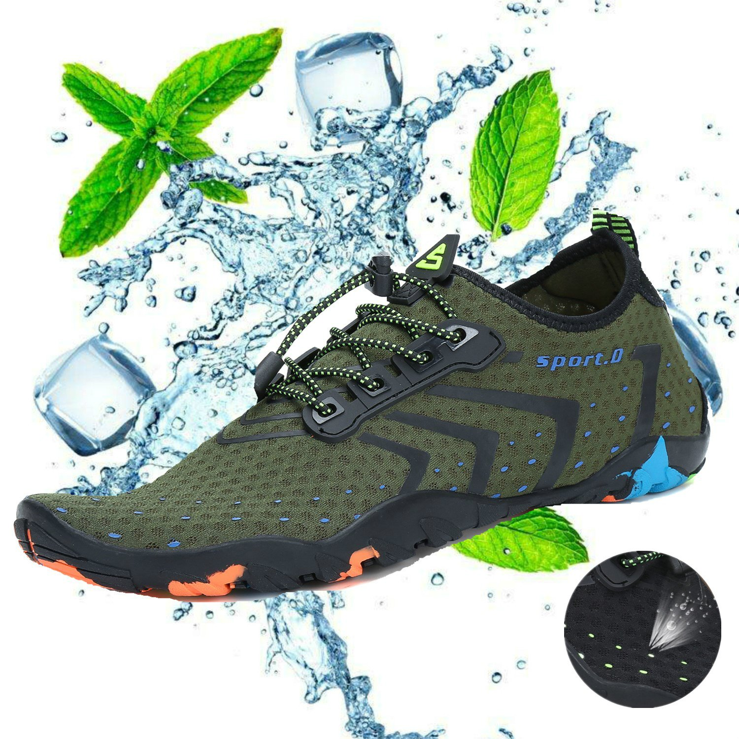 katliu Breathable Aqua Socks Mens Water Shoes Quick Dry Womens Outdoor Barefoot Skin for Beach B07CQTFHDX 11 US Men|Green