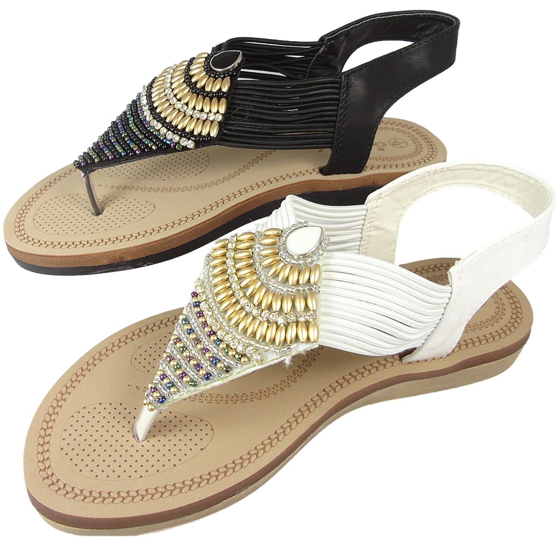 Savannah Ladies Bead Toe Post Flip Flop Beach Sandals Comfort Spongy  Footbed Black White: Amazon.co.uk: Shoes & Bags