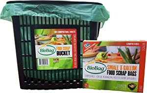 BioBag Kitchen Counter Food Scrap Bin and Compostable Bag Kit
