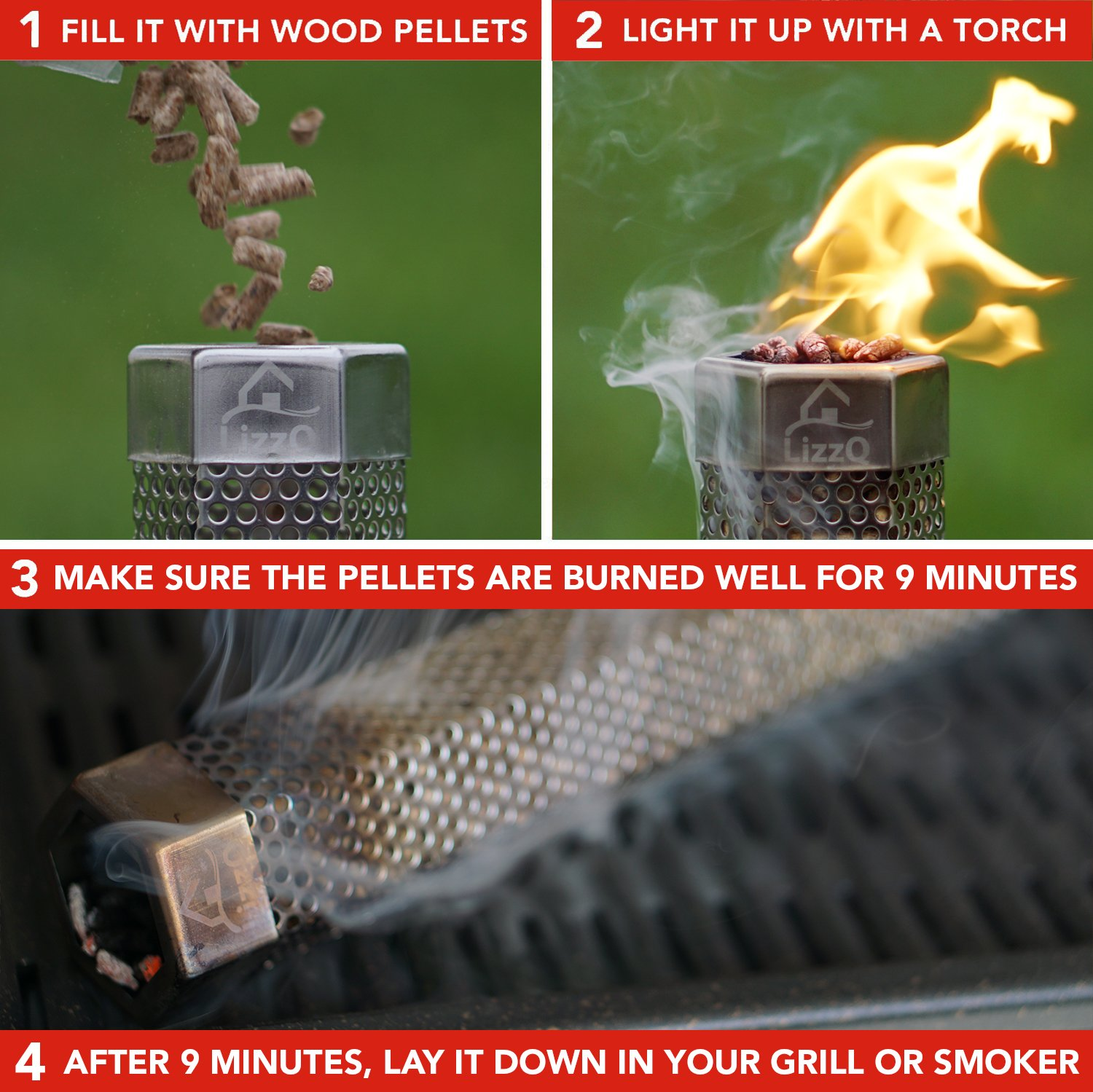 LIZZQ Premium Pellet Smoker Tube 12'' - 5 Hours Billowing Smoke any Grill Smoker, Hot Cold Smoking - Easy, safety tasty smoking - Free eBook Grilling Ideas Recipes by LIZZQ (Image #3)